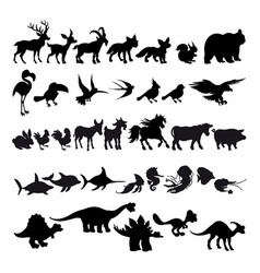 Silhouettes cartoon animals vector