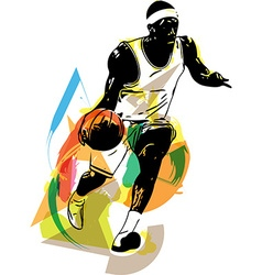 Sketch of basketball player vector image vector image