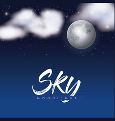 sky moonlight poster with clouds over moon in vector image