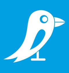 Social network bird icon white vector