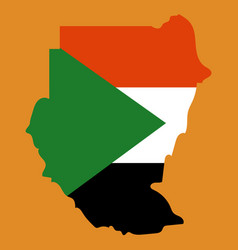 Sudan flag and map on the gray background vector