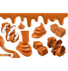 Sweet caramel set realistic 3d vector