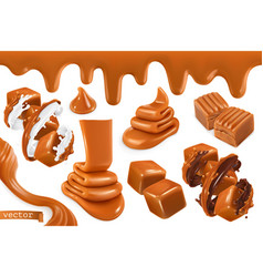 sweet caramel set realistic 3d vector image