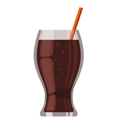 sweet soda icon cola drink in a high glass cup vector image