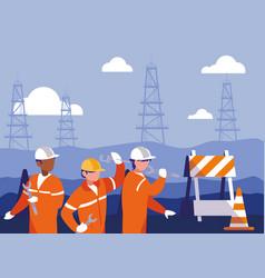 Team work people in electrification scene vector