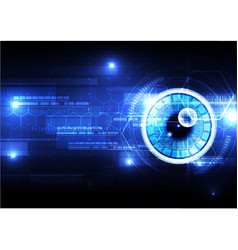 technological eye scanning hexagonal hud security vector image