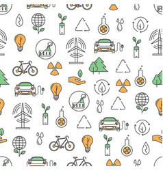 Thin line art ecology seamless pattern vector
