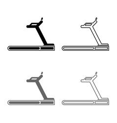 treadmill machine icon set grey black color vector image