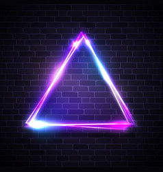 triangle background on brick texture neon sign vector image