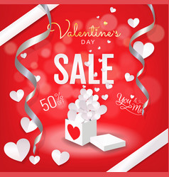 Valentines day sale background banner open gift vector