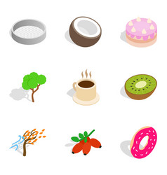 Vegetarian eatery icons set isometric style vector