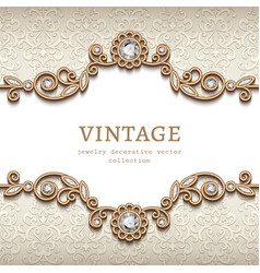 Vintage jewellery card with flourish decoration vector