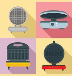 Waffle-iron icon set flat style vector