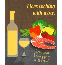 Wine cooking poster vector