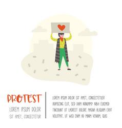 woman protesting at strike character picketing vector image