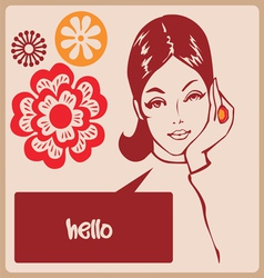Woman retro comics style post card vector