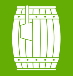 Wooden barrel with ladle icon green vector
