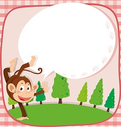 Border design with monkey in the park vector image vector image