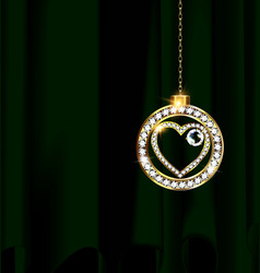 Green drape and jewelry christmas ball vector