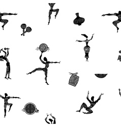 Seamless texture with figures of primitive people vector image