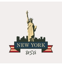 statue of Liberty in background of New York vector image vector image