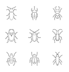 Bugs icons set outline style vector image