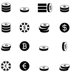 coin icon set vector image