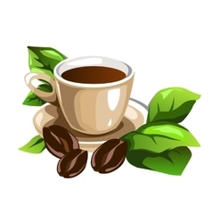 Cup of coffee decorated beans and green leaves vector image