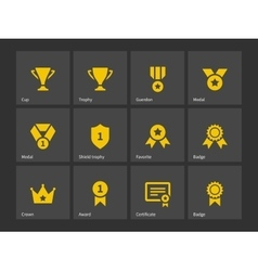 Trophy and awards icons vector image vector image