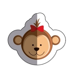 color sticker with female monkey head and middle vector image vector image