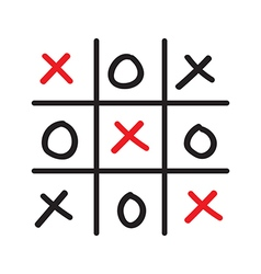 hand drawn tic tac toe competition vector image vector image