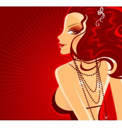 lady in red dress banner vector image