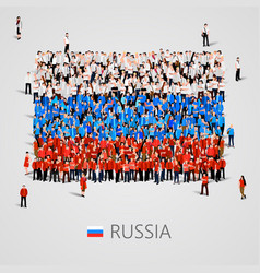 Large group of people in the russia flag shape vector