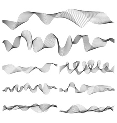 Abstract music sound waves pulse set vector image