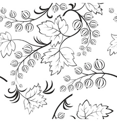 blackandwhite seamless with abstract currants vector image
