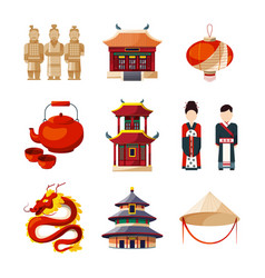 culture icons set traditional chinese elements vector image