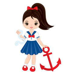 cute little girl with anchor vector image