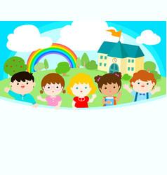 cute multiracial children joyful at school vector image vector image