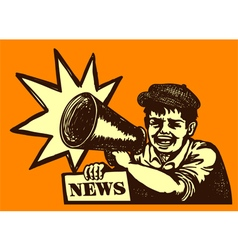 Retro newspaper vendor kid screaming megaphone vector image vector image