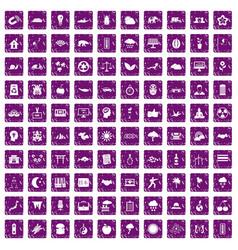 100 harmony icons set grunge purple vector image