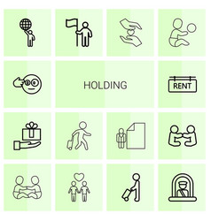 14 holding icons vector