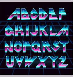 80 s retro alphabet font vector