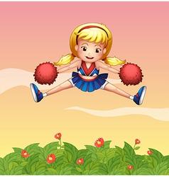 a cheerleader in garden vector image