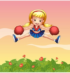 A cheerleader in the garden vector