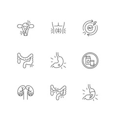 Abdominal pain linear icons set vector