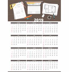 architect house plan calendar 2019 vector image