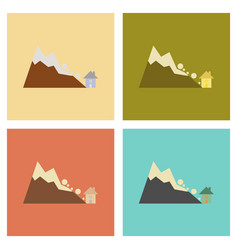 Assembly flat icons nature house avalanche vector