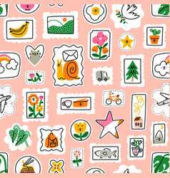 awesome cartoon mail stamps collection pattern vector image