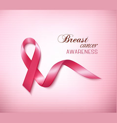 Background with Pink Breast Cancer Ribbon vector image