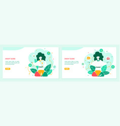 Banking landing page flat template set vector